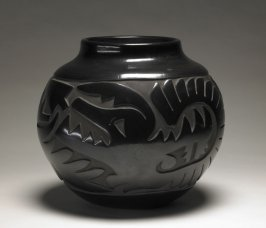 Carved blackware jar