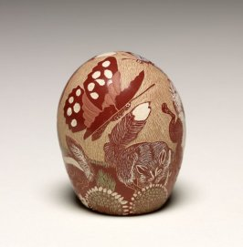 Miniature polychrome redware jar with sgraffito design