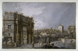 Recto: View of the Arch of Constantine and Environs, Rome