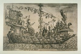 Orfeo Condotto da Bacco/ Barca del. Sig. Nicolo Berardi (Orpheus Lead by Bacchus, Sig. Nicolo Berardi's Ship) , from the series Ships of the Argonauts, a mock naval battle on the Arno on 3 November 1608 designed by Giulio Parigi to celebrate the wedding o