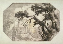 An Octagonal Landscape with Monks Approaching a Church, pl. 6 from a set of six Landscapes