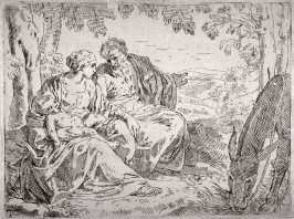 Rest on the Flight into Egypt, after the etching by S. Cantarini