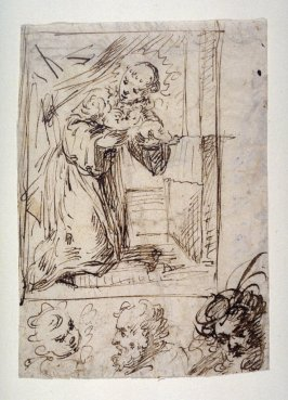 St. Anthony of Padua Holding the Christ Child, a study for the etching, St. Anthony of Padua (B. 26)