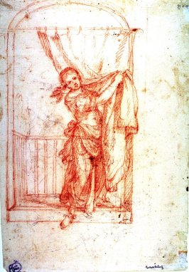 Recto:Young Woman on Balcony Lifting a Curtain