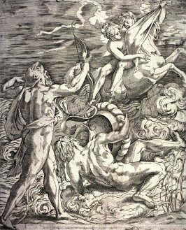 copy in reverse after Caraglio's engraving Hercules Killing the Centaur Nessus, after Rosso Fiorentino