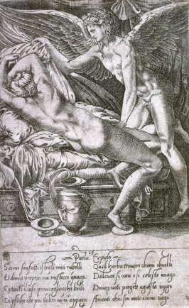Cupid and Psyche, a reduced copy of Caraglio's engraving after Perino del Vaga from The Loves of the Gods