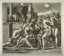 The Adoration of the Shepherds, copy of the engraving by Caraglio after Parmigianino
