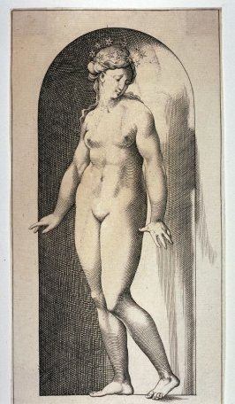 Ariadne, after Jacopo Caraglio's engraving after Rosso Fiorentino