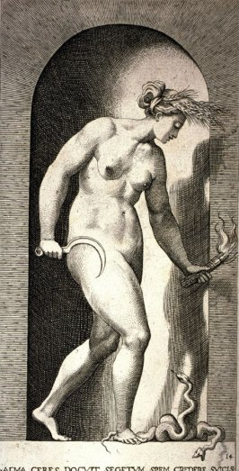 Ceres, after Rosso Fiorentino, retouched by Francesco Villamena. From the series Mythological Gods and Goddesses