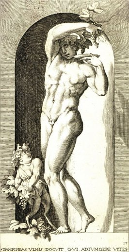 Bacchus, after Rosso Fiorentino, retouched by Francesco Villamena. From the series Mythological Gods and Goddesses