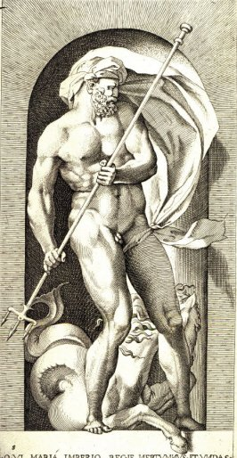 Neptune, after Rosso Fiorentino, retouched by Francesco Villamena. From the series Mythological Gods and Goddesses