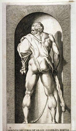 Hercules,after Rosso Fiorentino, retouched by Francesco Villamena. From the series Mythological Gods and Goddesses