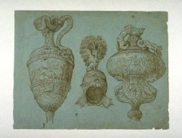 Decorative Drawings (Pitcher, Helmet, Vase)