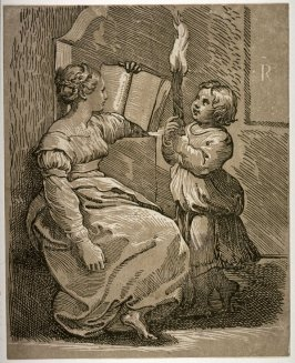 A Sibyl With a Child Holding a Torch, after a chiaroscuro woodcut by Ugo da Carpi after Raphael