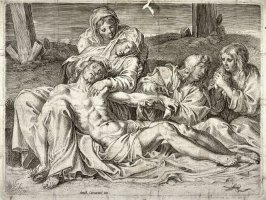 Copy in reverse after the etching by Annibale Carracci, the Christ of Caprarola