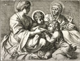 copy in reverse after the etching by Annibale Carracci, the Madonna della Scodella