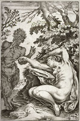 copy after the engraving by Agostino Carracci, A Satyr Approaching a Sleeping Nymph