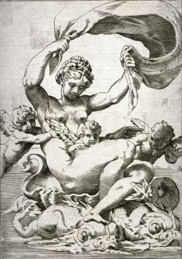 copy after the engraving by Agostino Carracci, Venus or Galatea Supported by Dolphins