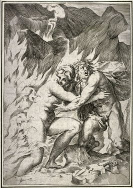 copy after the engraving by Agostino Carracci, Orpheus and Eurydice