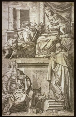 Holy Family with Sts. John the Baptist, Catherine, and Anthony Abbot, after the painting by Veronese in San Francesco della Vigna, Venice