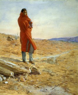 Untitled [Native American Woman, wrapped in a red blanket]