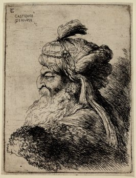 Bearded Old Man Wearing a Turban Ornamented with a Small Plume, Facing Left