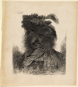 Man Wearing a Plumed Fur Ca and a Scarf