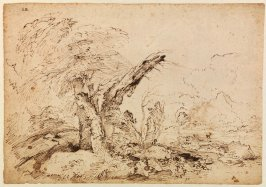 Recto: Pastoral LandscapeVerso: Sheet of Figure, Animal and Landscape Studies