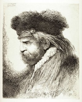 Man With a Moustache, Wearing a Fur Headdress, Facing Left, from the series Large Studies of heads in Oriental Headdress