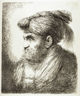 Man with a Beard and Mustache, Wearing a Tassled Headdress, Facing Left, from the series Large Studies of heads in Oriental Headdress