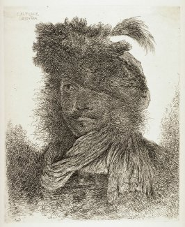 Man Wearing a Plumed Fur Cap and a Scarf, from the series Large Studies of heads in Oriental Headdress