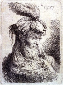Bearded Old Man Wearing a Plumed Turban, Facing Right, from the series Small Studies of Heads in Oriental Headdress