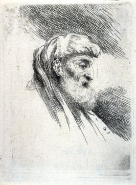 Bearded Old Man Wearing Shoulder-Length Headdress, Facing Right, from the series Small Studies of Heads in Oriental Headdress