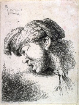 Man Wearing a Small Turban and a Tie Fastened Around His Neck, Facing Left, from the series Small Studies of Heads in Oriental Headdress