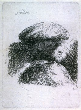 Young Man with His Eyes Lowered, Wearing a Cap Ornamented with Plumes, Facing Right, from the series Small Studies of Heads in Oriental Headdress