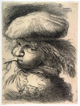 Young Man Sounding a Trumpet, Wearing a Flat Cap, from the series Small Studies of Heads in Oriental Headdress