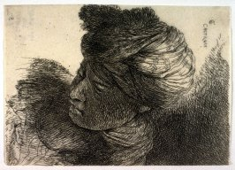 Young Man with His Head Lowered,Wearing a Turban, Facing Left, from the series Small Studies of Heads in Oriental Headdress