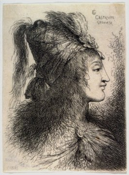 Young Woman Wearing a Plumed Turban, Facing Right, from the series Small Studies of Heads in Oriental Headdress