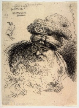 Bearded Old Man, with Head and Eyes Lowered,Wearing a Turban Ornamented with Fur; Other Studies, Lightly Traced, from the series Small Studies of Heads in Oriental Headdress