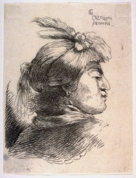 Man Wearing a Small Turban Ornamented with Plumes and Ribbon, Facing Right, from the series Small Studies of Heads in Oriental Headdress
