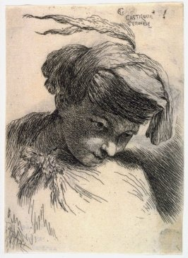 Young Man with His Head Leaning Against His Shoulder, Wearing a Plumed Headdress, from the series Small Studies of Heads in Oriental Headdress