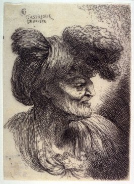 Old Man Wearing a Turban Ornamented with Fur, Facing Right, from the series Small Studies of Heads in Oriental Headdress