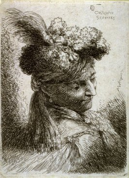Young Man Wearing a Fur Headdress with a Headband, Facing Right, from the series Small Studies of Heads in Oriental Headdress