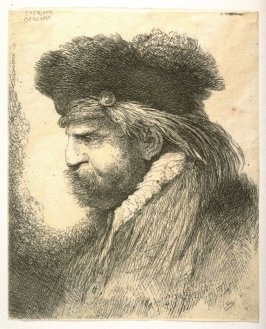 Man with a Mustache, Wearing a Fur Headdress, Facing Left, from the series Large Studies of Heads in Oriental Headdress