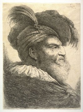 Man with a Long Beard, Wearing a Headdress and Fur Cap, Facing Right, from the series Large Studies of Heads in Oriental Headdress