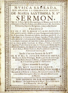 Coat of Arms of Sr. D. Gaspar Madrazo Y Escalera, frontispiece page of an Ascension Day sermon in the cathedral of Mexico City