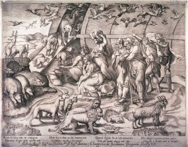 The Animals Leaving the Ark, after the fresco in the Loggia of the Vatican, Rome