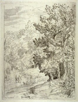 Landscape with a Man Reclining at the Base of a Tree, from the Cabinet du Roi