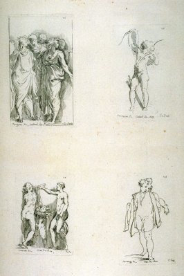 Group of Five Figures in Classical Attire; Cupid Firing an Arrow; Cupid and Two Nymphs; Standing Child; from the Cabinet du Roi