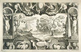 Landscape with Two Figures in a Decorative Border, from the Cabinet du Roi